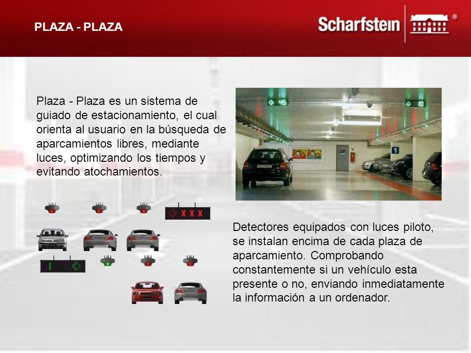 Detectores equipados con luces piloto, se instalan encima de cada plaza de aparcamiento. Comprobando constantemente si un vehículo esta presente o no,