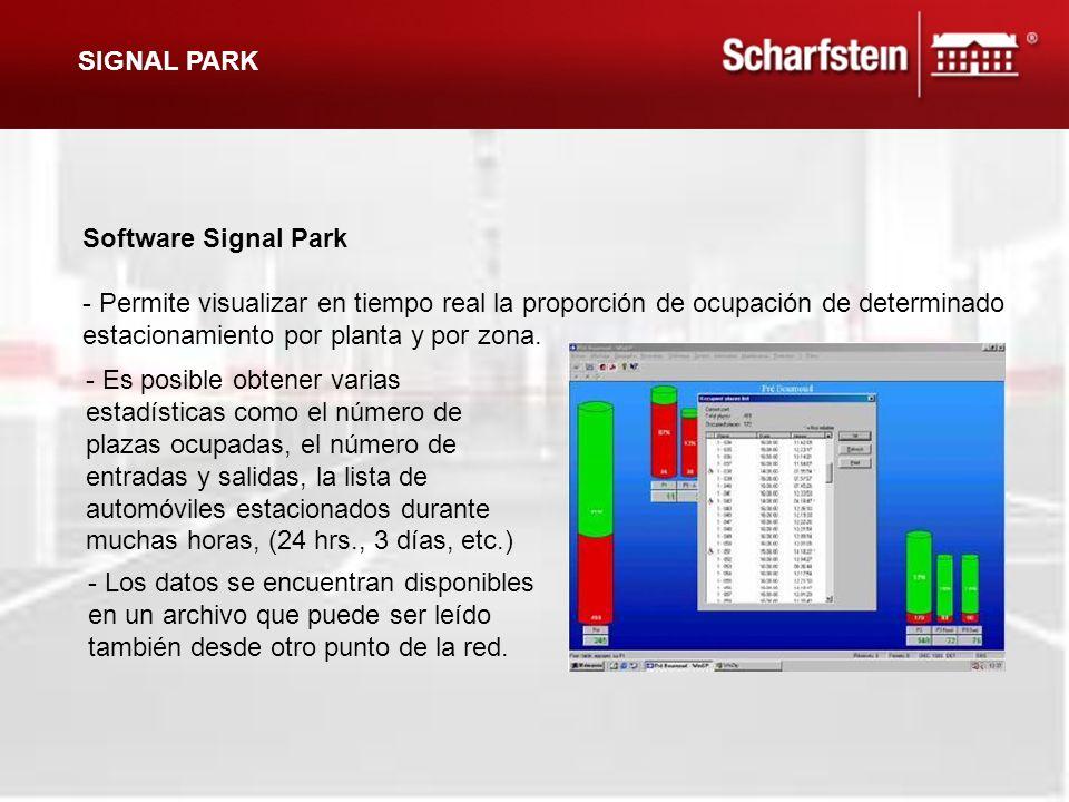 Software Signal Park - Permite visualizar en tiempo real la proporción de ocupación de determinado estacionamiento por planta y por zona. SIGNAL PARK