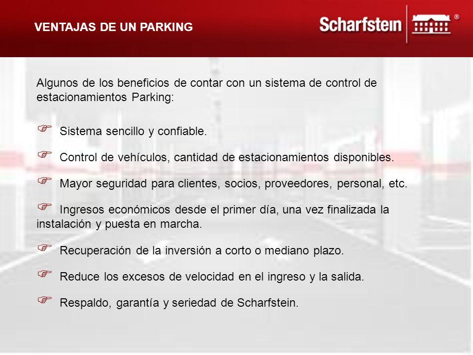 C ontrol de vehículos, cantidad de estacionamientos disponibles. I ngresos económicos desde el primer día, una vez finalizada la instalación y puesta