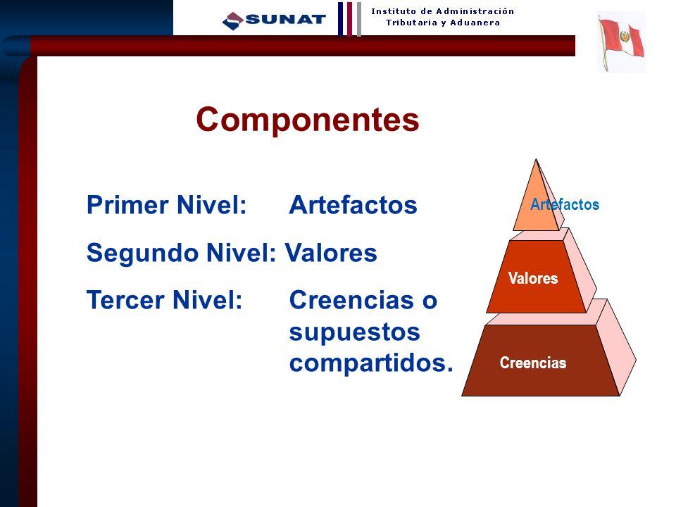 24 Primer Nivel: Artefactos Segundo Nivel: Valores Tercer Nivel: Creencias o supuestos compartidos. Artefactos Valores Creencias Componentes