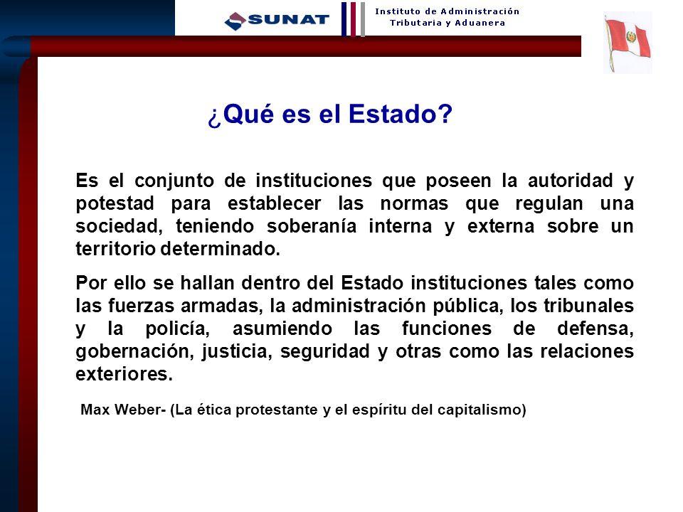 3 ¿Qué es el Estado? Es el conjunto de instituciones que poseen la autoridad y potestad para establecer las normas que regulan una sociedad, teniendo
