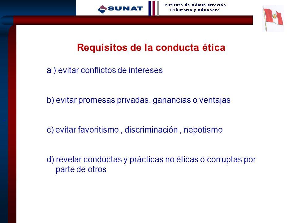 33 Requisitos de la conducta ética a ) evitar conflictos de intereses b) evitar promesas privadas, ganancias o ventajas c) evitar favoritismo, discrim
