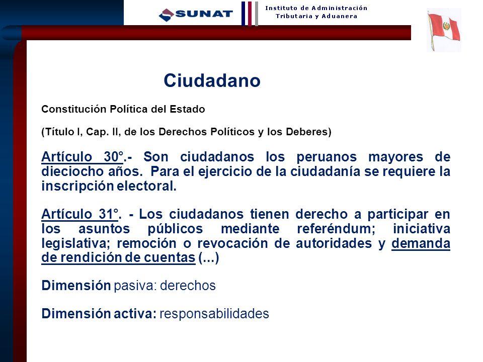 4 Ciudadano Constitución Política del Estado (Título I, Cap. II, de los Derechos Políticos y los Deberes) Artículo 30°.- Son ciudadanos los peruanos m