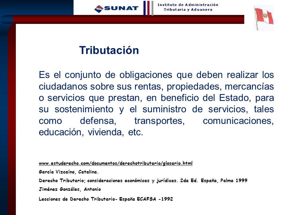 6 Tributación Es el conjunto de obligaciones que deben realizar los ciudadanos sobre sus rentas, propiedades, mercancías o servicios que prestan, en b