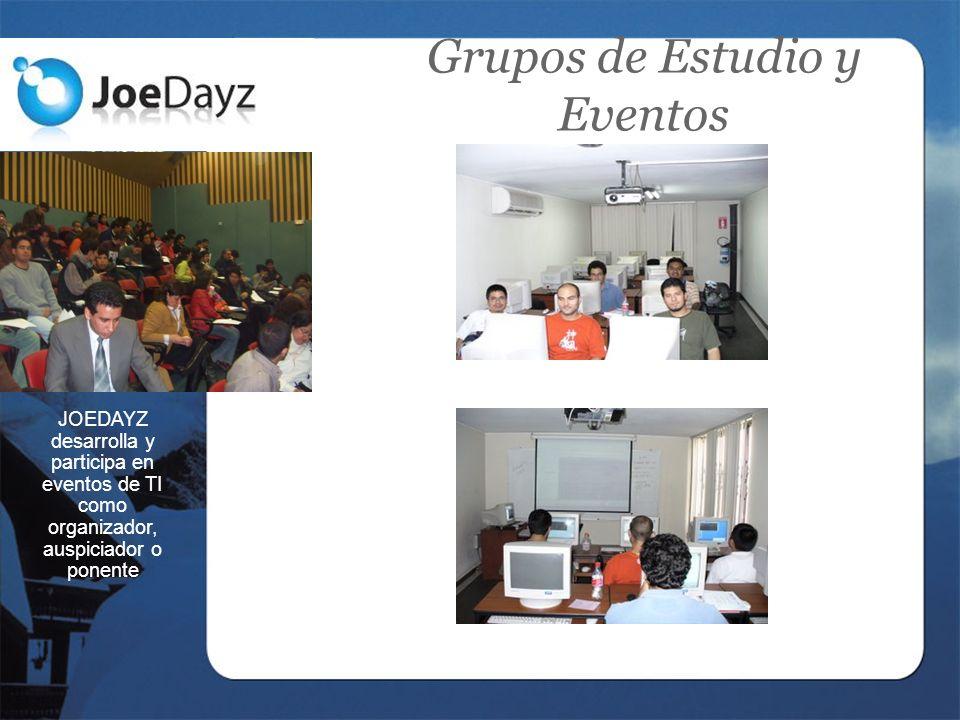 Grupos de Estudio y Eventos JOEDAYZ desarrolla y participa en eventos de TI como organizador, auspiciador o ponente