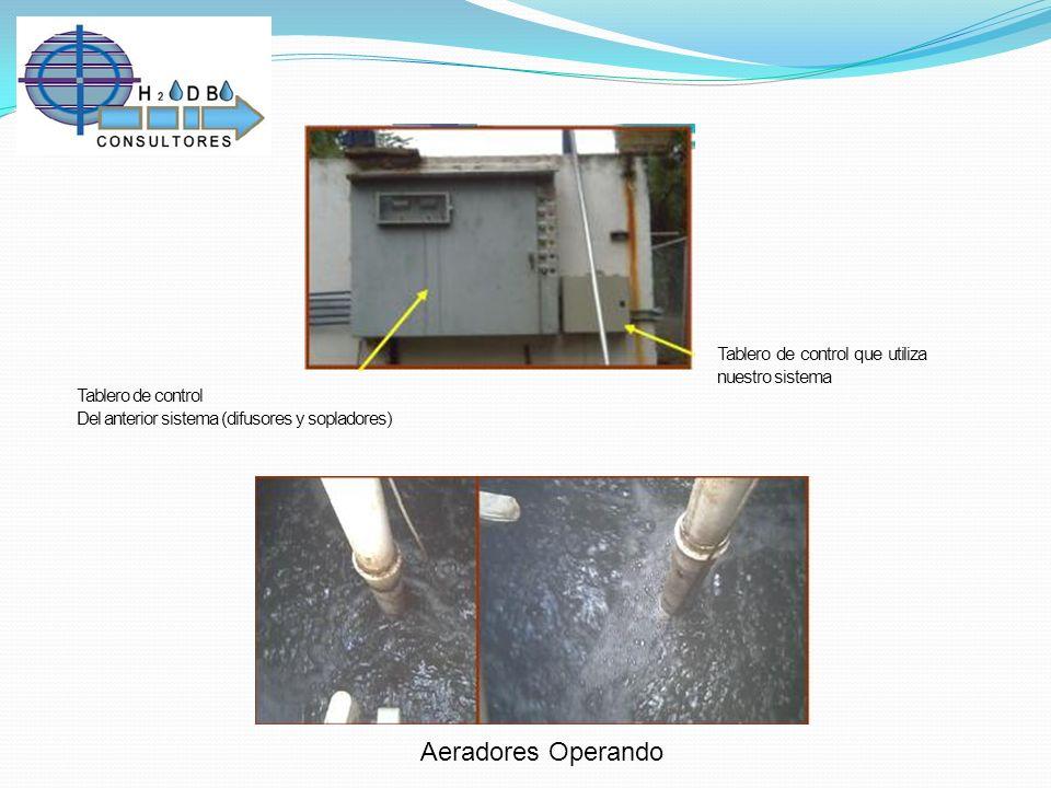Tablero de control Del anterior sistema (difusores y sopladores) Tablero de control que utiliza nuestro sistema Aeradores Operando