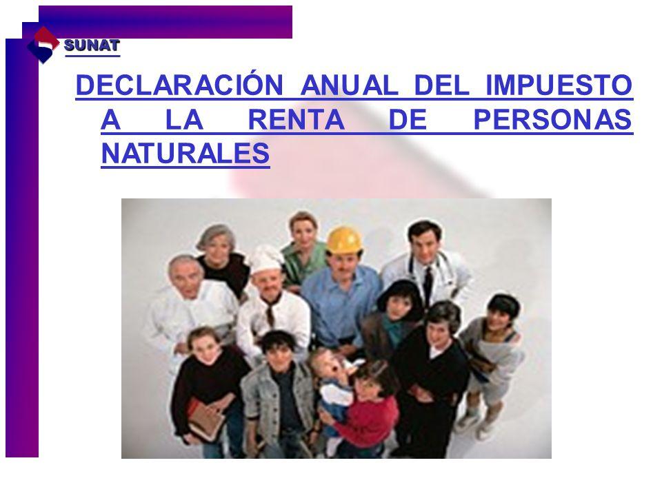 DECLARACIÓN ANUAL DEL IMPUESTO A LA RENTA DE PERSONAS NATURALES SUNAT