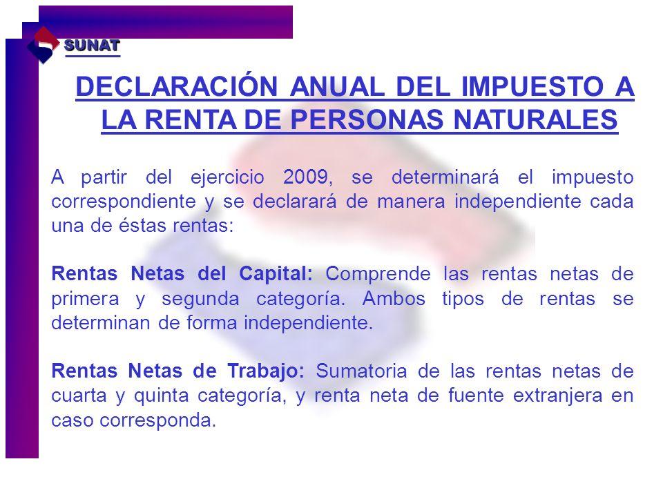 DECLARACIÓN ANUAL DEL IMPUESTO A LA RENTA DE PERSONAS NATURALES SUNAT A partir del ejercicio 2009, se determinará el impuesto correspondiente y se dec