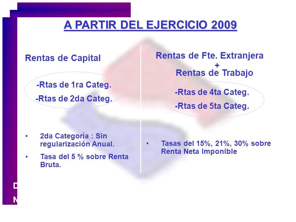 A PARTIR DEL EJERCICIO 2009 Rentas de Capital -Rtas de 1ra Categ. -Rtas de 2da Categ. Rentas de Fte. Extranjera + -Rtas de 4ta Categ. -Rtas de 5ta Cat