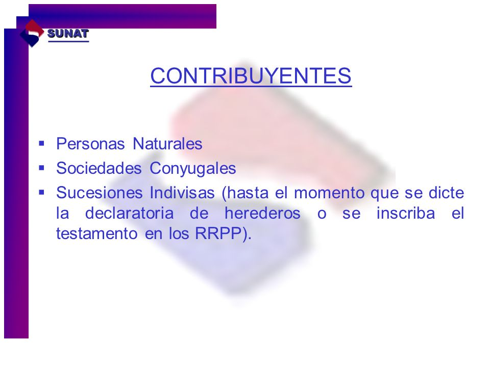 CONTRIBUYENTES Personas Naturales Sociedades Conyugales Sucesiones Indivisas (hasta el momento que se dicte la declaratoria de herederos o se inscriba