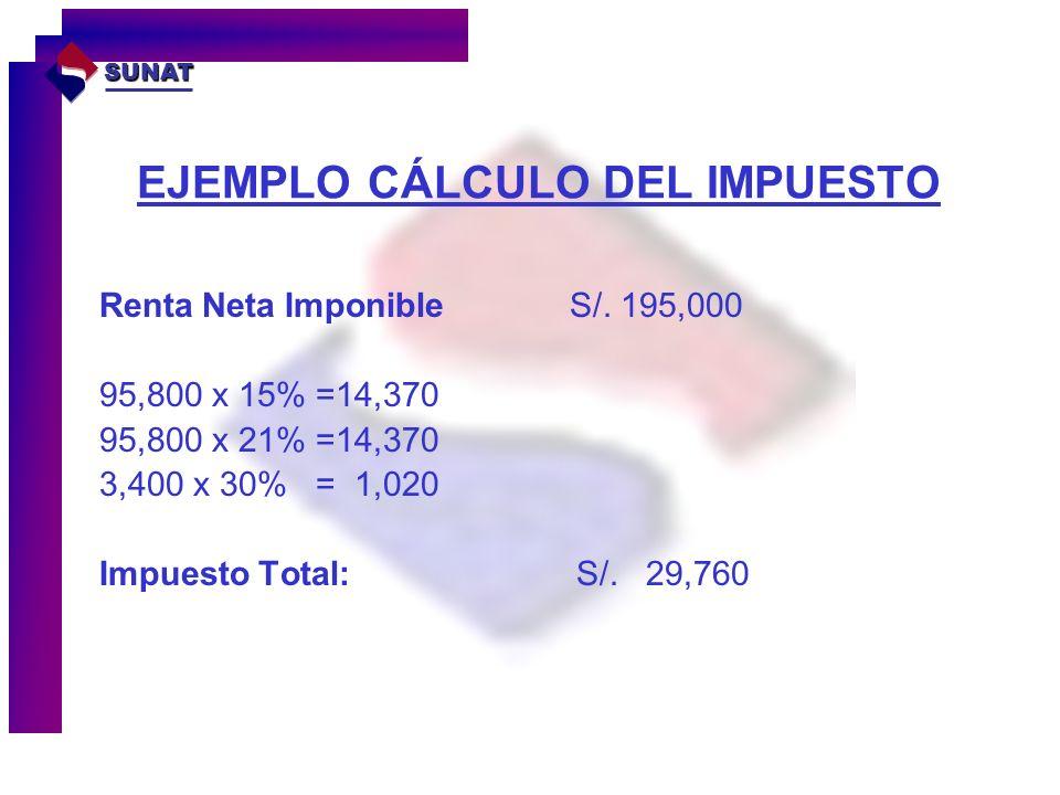 EJEMPLO CÁLCULO DEL IMPUESTO Renta Neta Imponible S/. 195,000 95,800 x 15% =14,370 95,800 x 21% =14,370 3,400 x 30% = 1,020 Impuesto Total: S/. 29,760