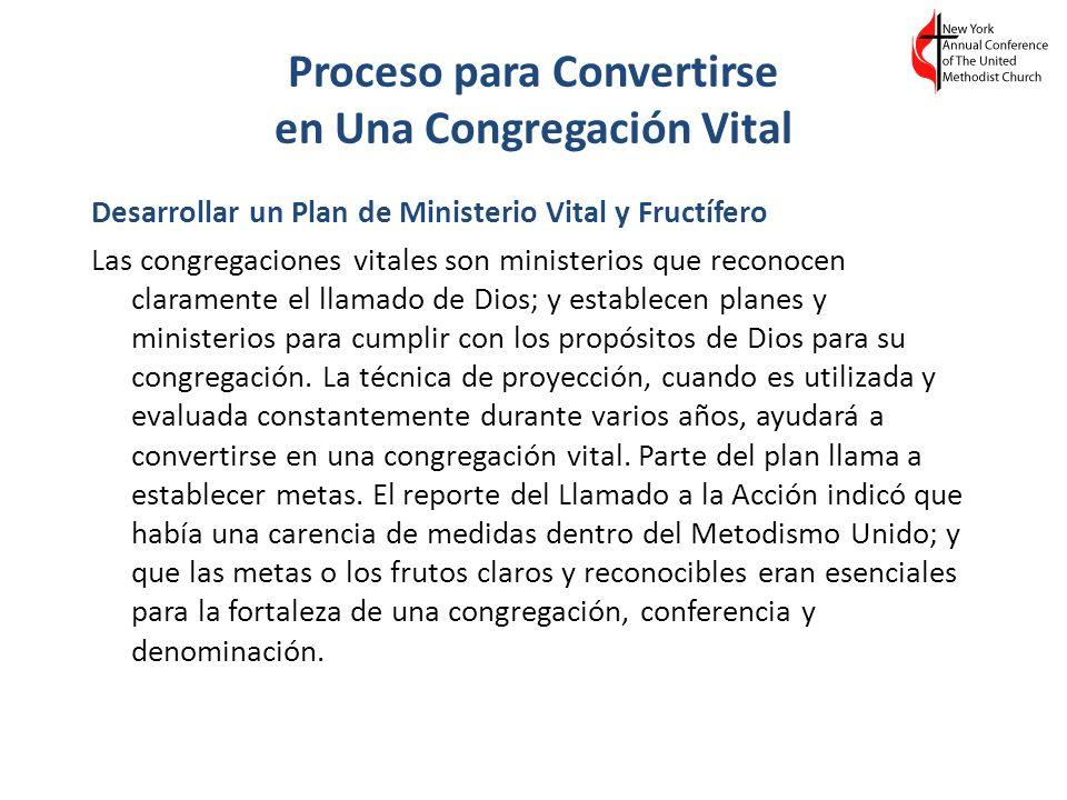 Proceso para Convertirse en Una Congregación Vital Desarrollar un Plan de Ministerio Vital y Fructífero Las congregaciones vitales son ministerios que