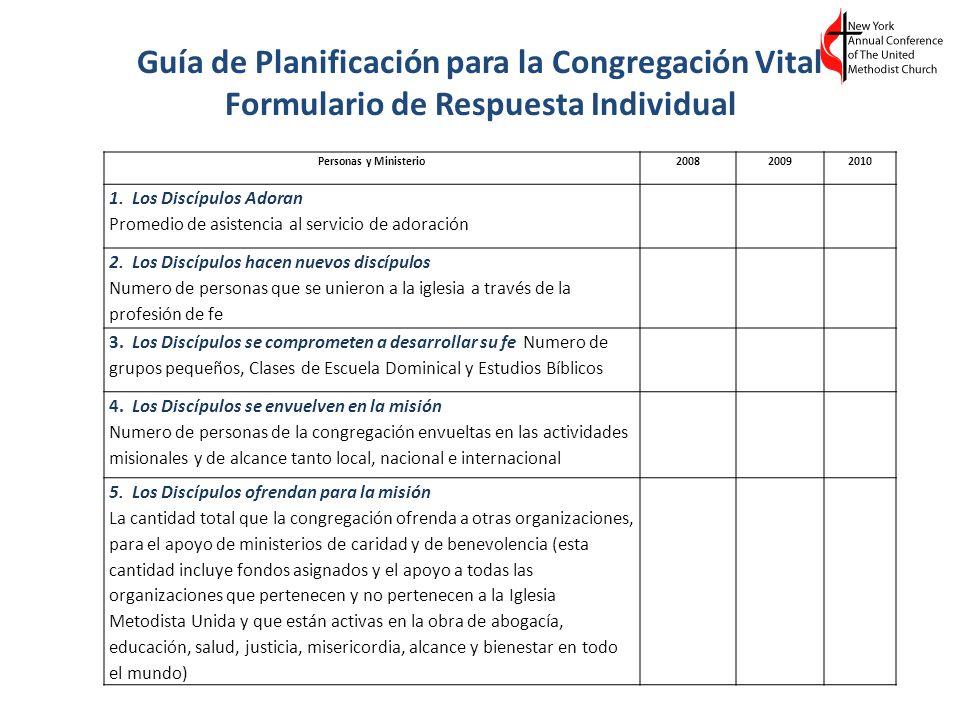 Guía de Planificación para la Congregación Vital Formulario de Respuesta Individual Personas y Ministerio200820092010 1. Los Discípulos Adoran Promedi