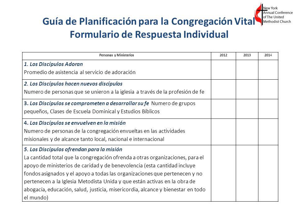 Guía de Planificación para la Congregación Vital Formulario de Respuesta Individual Personas y Ministerios201220132014 1. Los Discípulos Adoran Promed