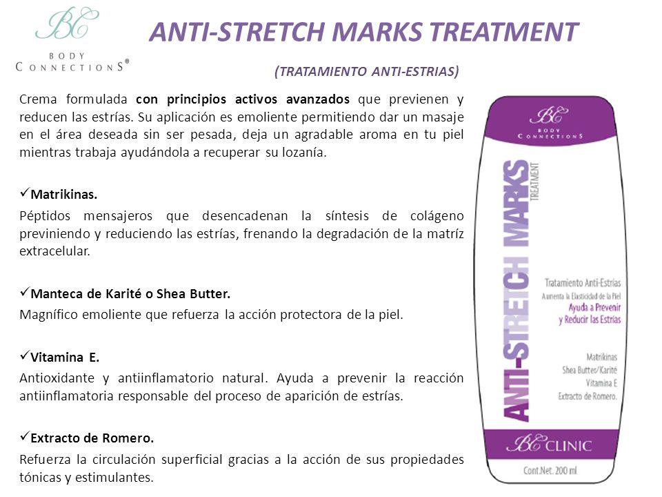 ANTI-STRETCH MARKS TREATMENT (TRATAMIENTO ANTI-ESTRIAS) Crema formulada con principios activos avanzados que previenen y reducen las estrías. Su aplic