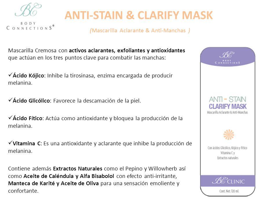ANTI-STAIN & CLARIFY MASK (Mascarilla Aclarante & Anti-Manchas ) Mascarilla Cremosa con activos aclarantes, exfoliantes y antioxidantes que actúan en