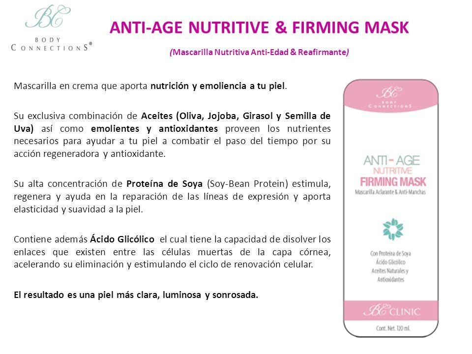 ANTI-AGE NUTRITIVE & FIRMING MASK (Mascarilla Nutritiva Anti-Edad & Reafirmante) Mascarilla en crema que aporta nutrición y emoliencia a tu piel. Su e