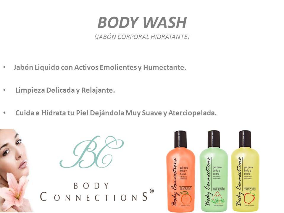 BODY WASH (JABÓN CORPORAL HIDRATANTE) Jabón Liquido con Activos Emolientes y Humectante. Limpieza Delicada y Relajante. Cuida e Hidrata tu Piel Dejánd