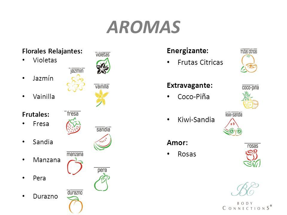 AROMAS Florales Relajantes: Violetas Jazmín Vainilla Frutales: Fresa Sandia Manzana Pera Durazno Energizante: Frutas Citricas Extravagante: Coco-Piña
