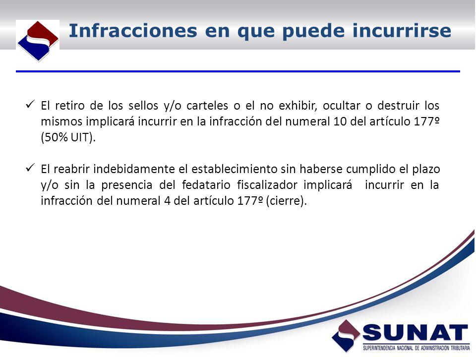 Infracciones en que puede incurrirse El retiro de los sellos y/o carteles o el no exhibir, ocultar o destruir los mismos implicará incurrir en la infracción del numeral 10 del artículo 177º (50% UIT).