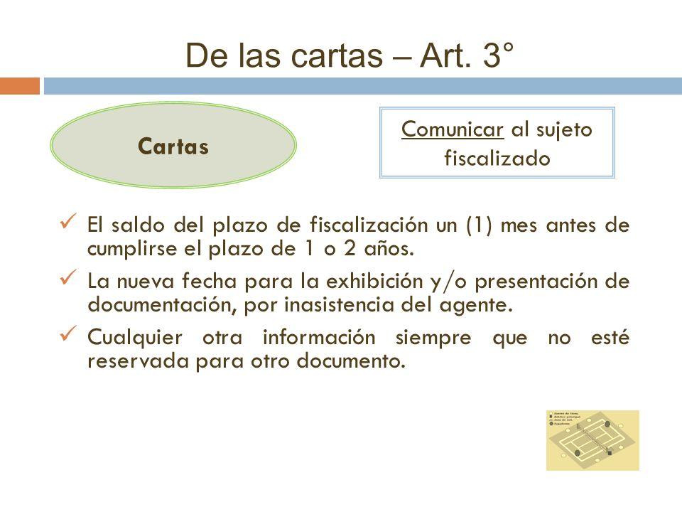 De las cartas – Art. 3° Cartas Comunicar al sujeto fiscalizado El saldo del plazo de fiscalización un (1) mes antes de cumplirse el plazo de 1 o 2 año