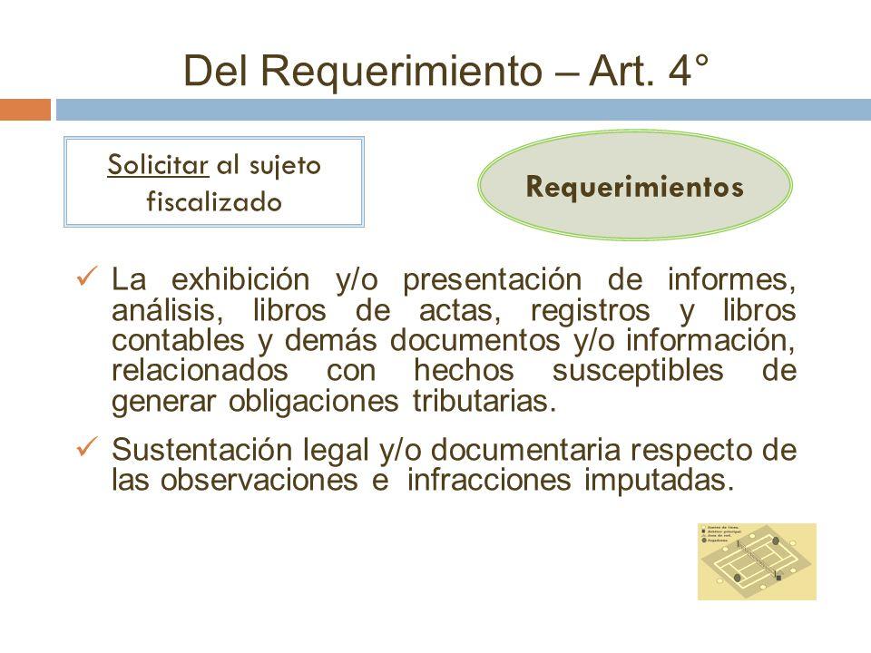 Del Requerimiento – Art. 4° Requerimientos Solicitar al sujeto fiscalizado La exhibición y/o presentación de informes, análisis, libros de actas, regi