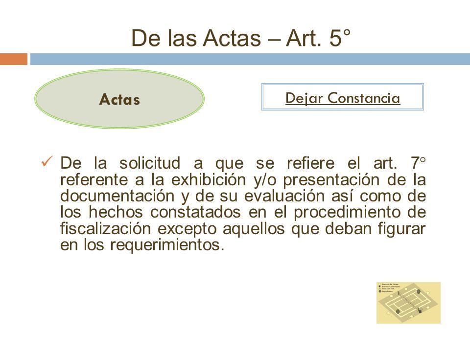De las Actas – Art. 5° Actas Dejar Constancia De la solicitud a que se refiere el art. 7° referente a la exhibición y/o presentación de la documentaci