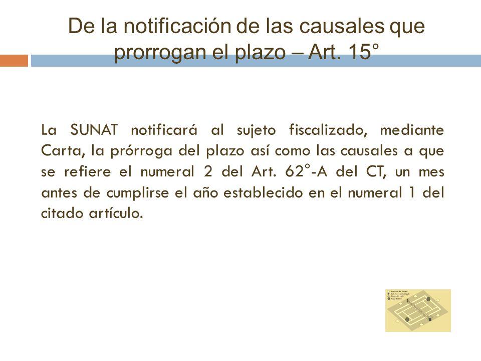 De la notificación de las causales que prorrogan el plazo – Art. 15° La SUNAT notificará al sujeto fiscalizado, mediante Carta, la prórroga del plazo