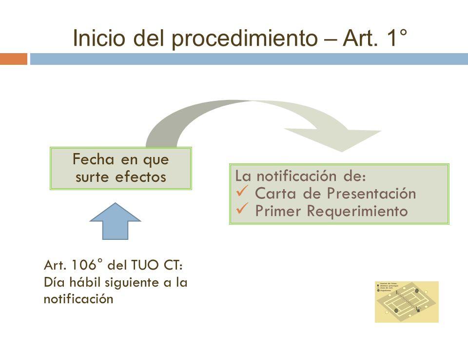 Inicio del procedimiento – Art. 1° La notificación de: Carta de Presentación Primer Requerimiento Art. 106° del TUO CT: Día hábil siguiente a la notif