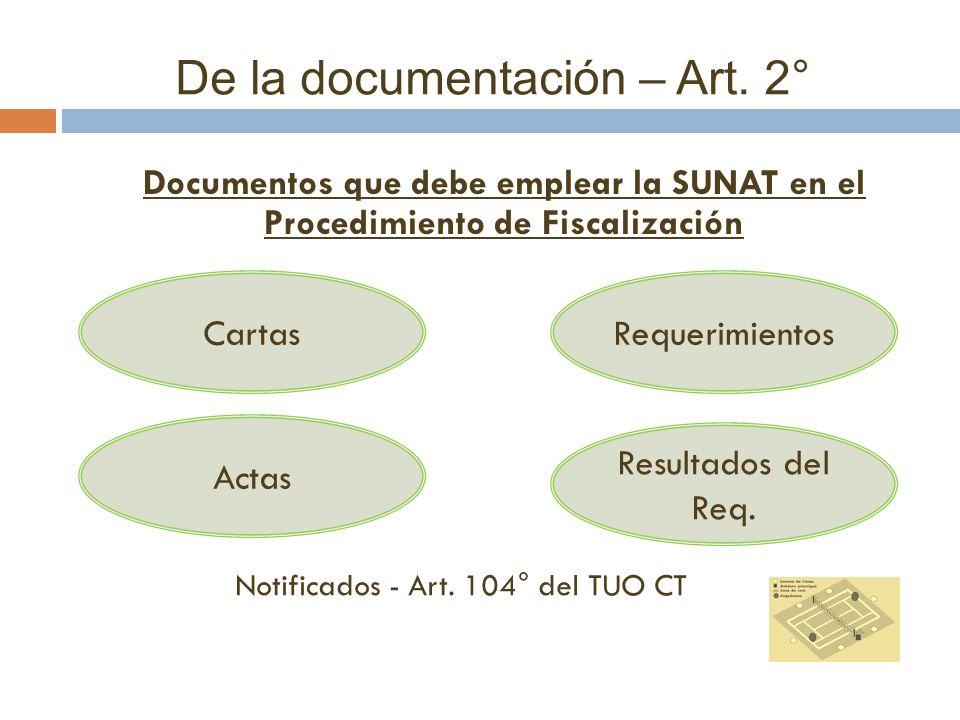 De la documentación – Art. 2° Documentos que debe emplear la SUNAT en el Procedimiento de Fiscalización CartasRequerimientos Resultados del Req. Actas