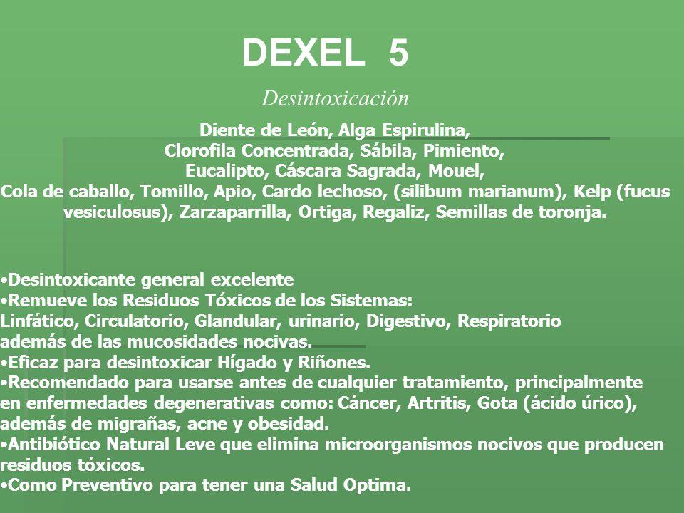 DEXEL 5 Desintoxicación Diente de León, Alga Espirulina, Clorofila Concentrada, Sábila, Pimiento, Eucalipto, Cáscara Sagrada, Mouel, Cola de caballo,