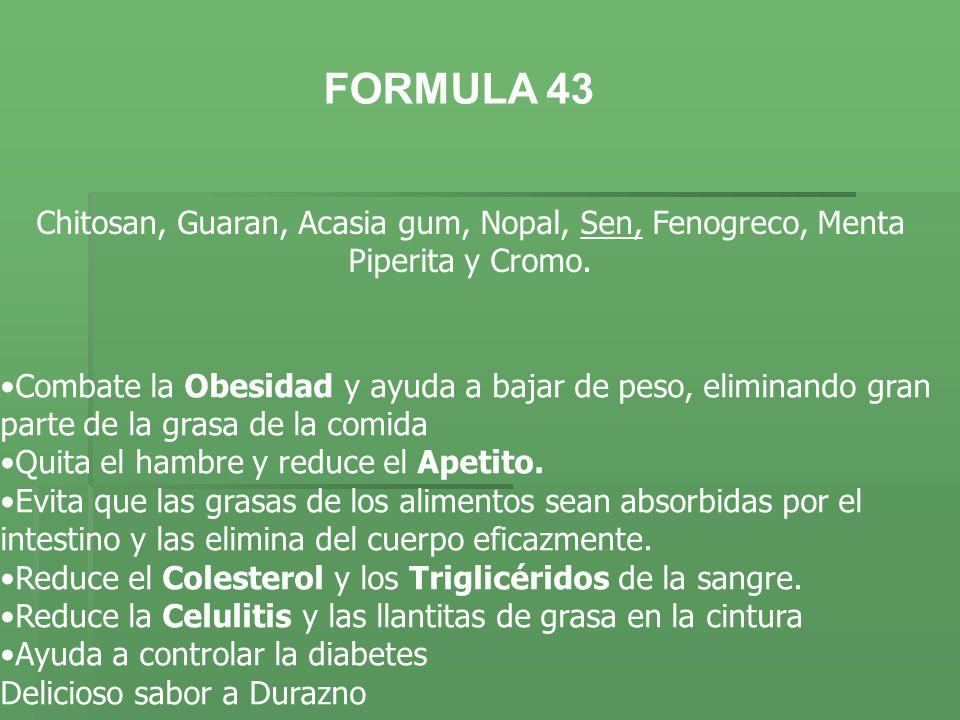 Chitosan, Guaran, Acasia gum, Nopal, Sen, Fenogreco, Menta Piperita y Cromo. Combate la Obesidad y ayuda a bajar de peso, eliminando gran parte de la