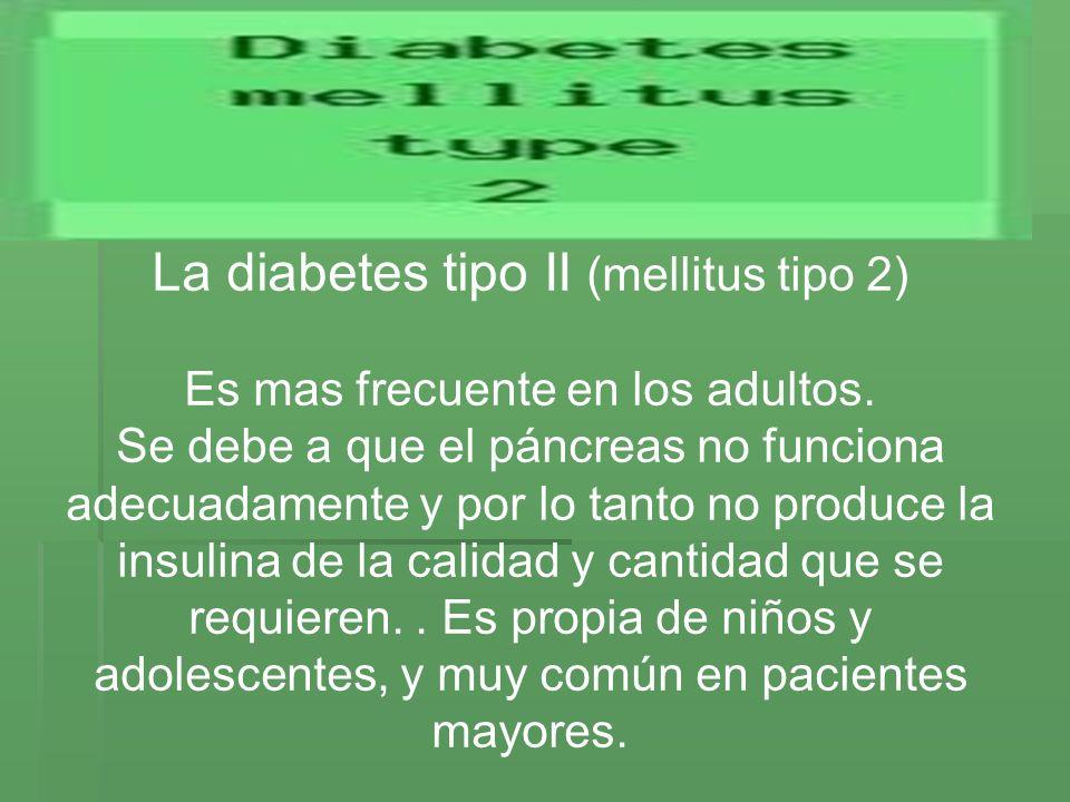 La diabetes tipo II (mellitus tipo 2) Es mas frecuente en los adultos. Se debe a que el páncreas no funciona adecuadamente y por lo tanto no produce l