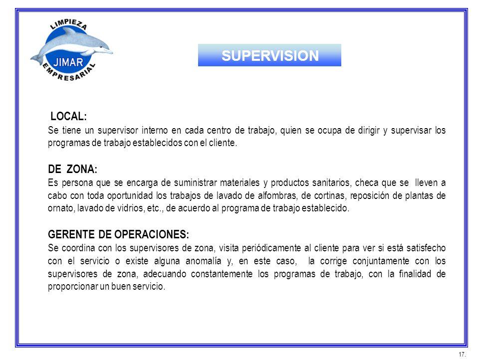 LOCAL: Se tiene un supervisor interno en cada centro de trabajo, quien se ocupa de dirigir y supervisar los programas de trabajo establecidos con el c