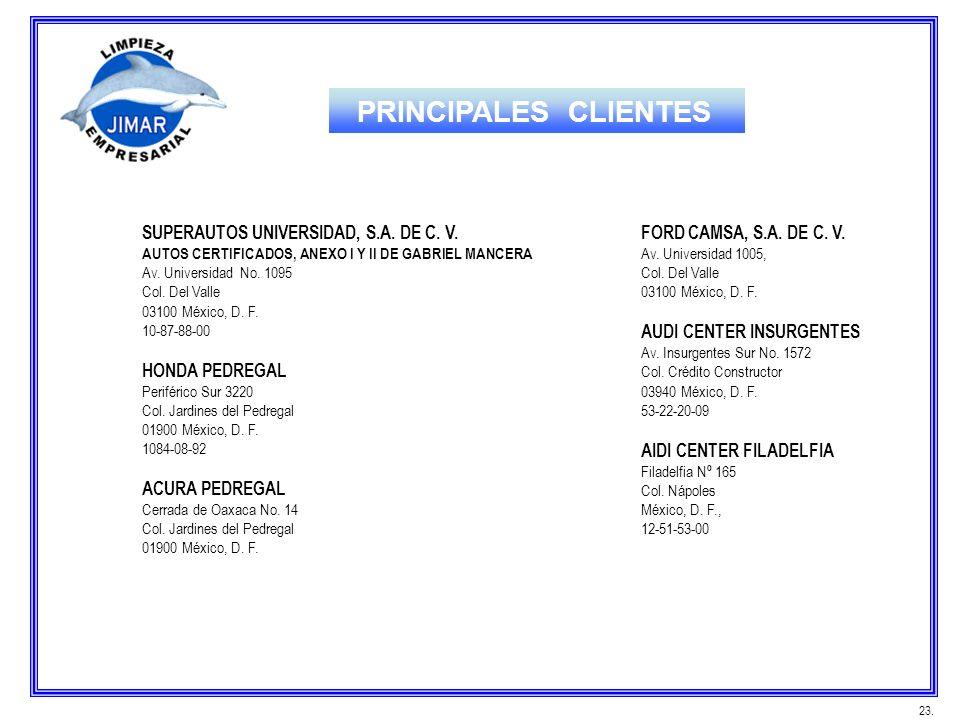 SUPERAUTOS UNIVERSIDAD, S.A. DE C. V. AUTOS CERTIFICADOS, ANEXO I Y II DE GABRIEL MANCERA Av. Universidad No. 1095 Col. Del Valle 03100 México, D. F.