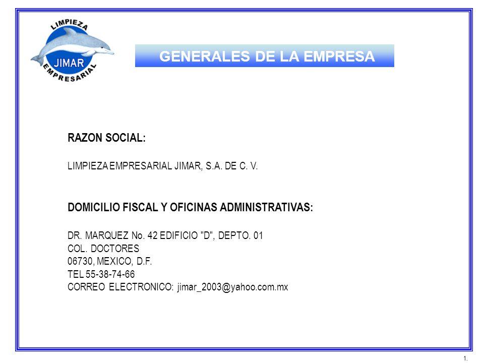 GENERALES DE LA EMPRESA RAZON SOCIAL: LIMPIEZA EMPRESARIAL JIMAR, S.A. DE C. V. DOMICILIO FISCAL Y OFICINAS ADMINISTRATIVAS: DR. MARQUEZ No. 42 EDIFIC