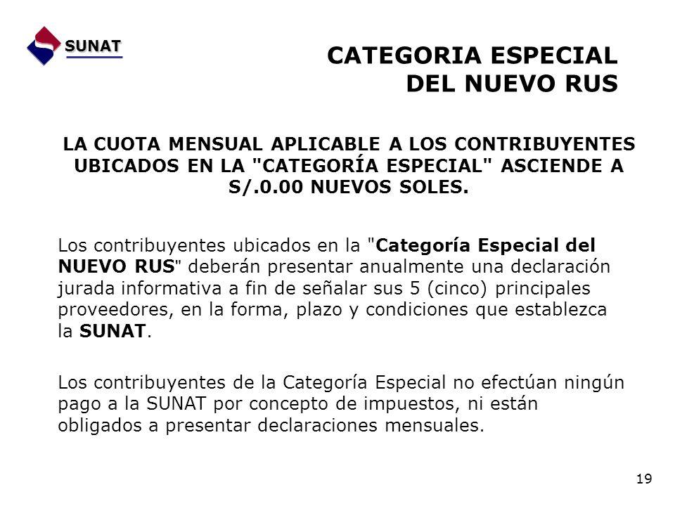 SUNAT CATEGORIA ESPECIAL DEL NUEVO RUS 19 LA CUOTA MENSUAL APLICABLE A LOS CONTRIBUYENTES UBICADOS EN LA