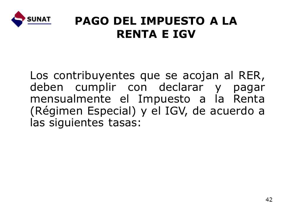Los contribuyentes que se acojan al RER, deben cumplir con declarar y pagar mensualmente el Impuesto a la Renta (Régimen Especial) y el IGV, de acuerd