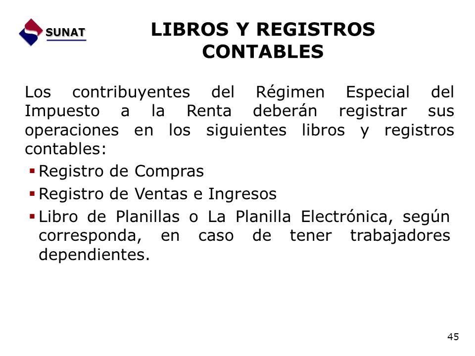 Los contribuyentes del Régimen Especial del Impuesto a la Renta deberán registrar sus operaciones en los siguientes libros y registros contables: Regi