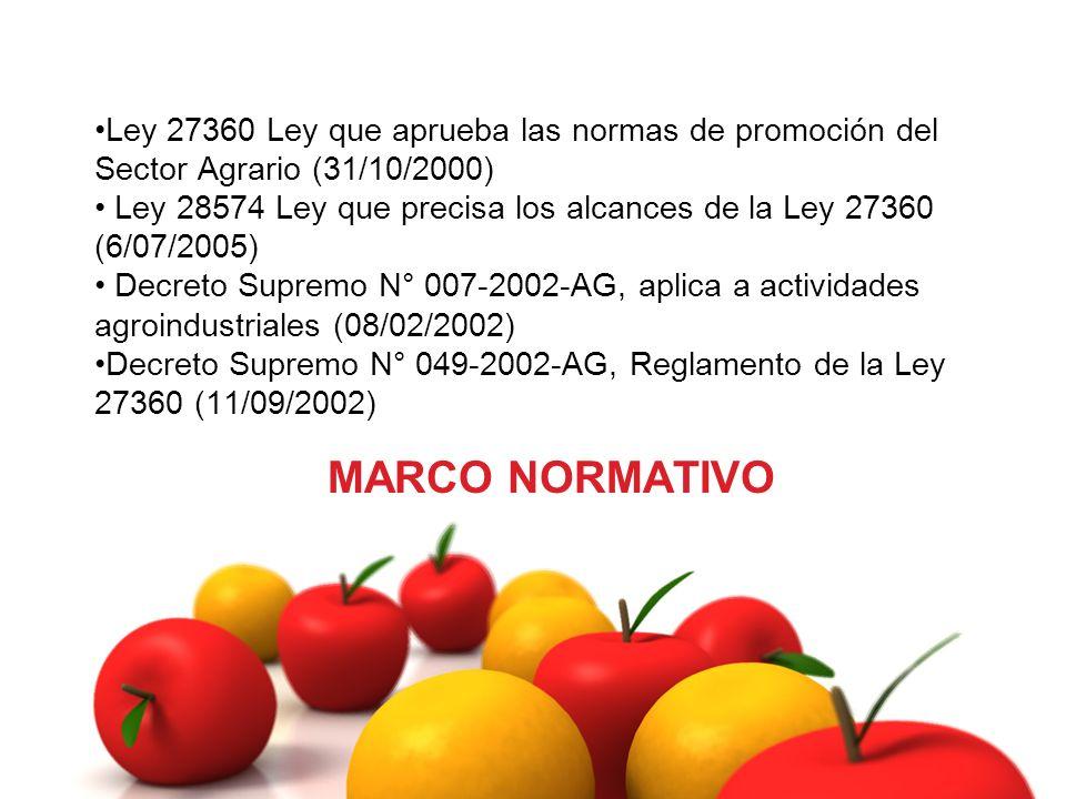 MARCO NORMATIVO Ley 27360 Ley que aprueba las normas de promoción del Sector Agrario (31/10/2000) Ley 28574 Ley que precisa los alcances de la Ley 273
