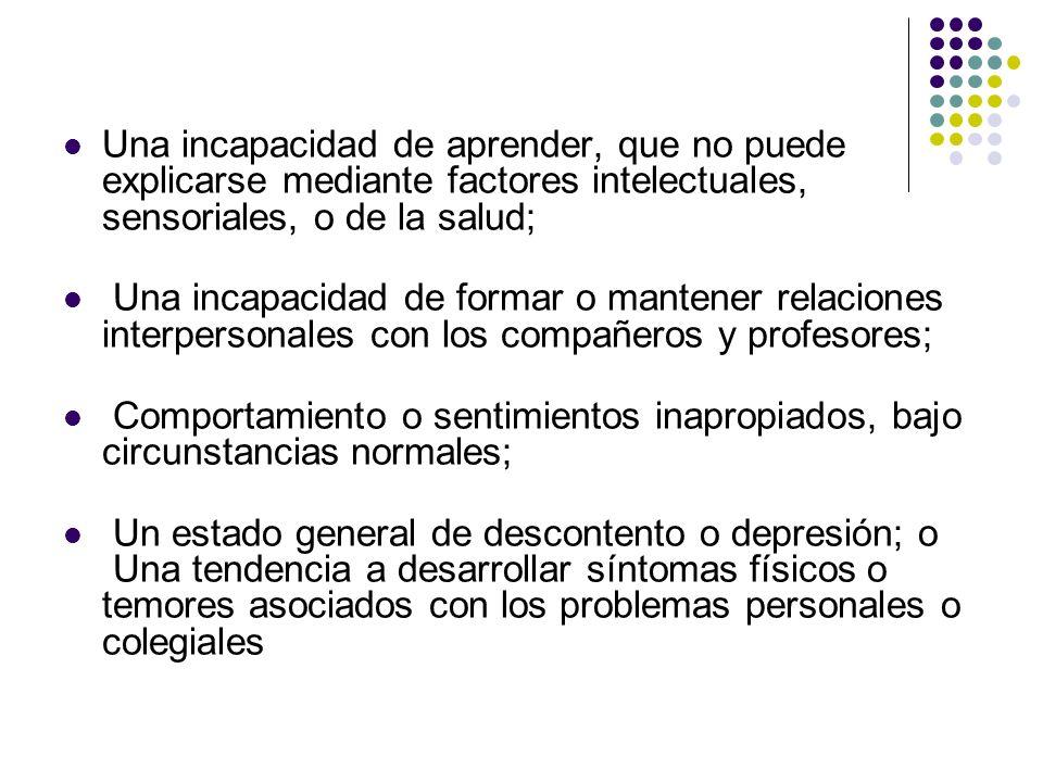 Características Hasta el momento, las causas de los problemas emocionales no han sido adecuadamente determinadas.