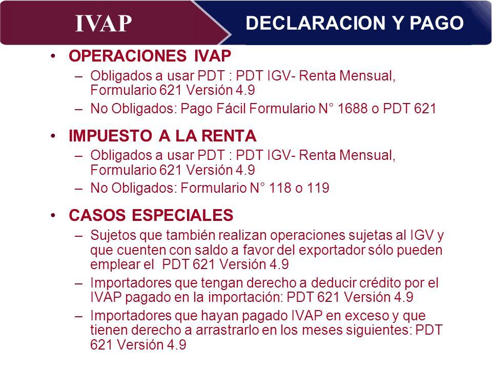 IVAP Superintendencia Nacional de Administración Tributaria – Abril 2009 OPERACIONES IVAP –Obligados a usar PDT : PDT IGV- Renta Mensual, Formulario 6