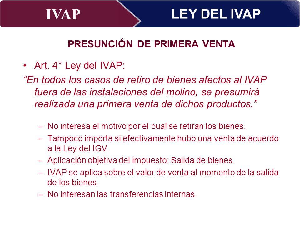 IVAP Superintendencia Nacional de Administración Tributaria – Abril 2009 Art. 4° Ley del IVAP: En todos los casos de retiro de bienes afectos al IVAP
