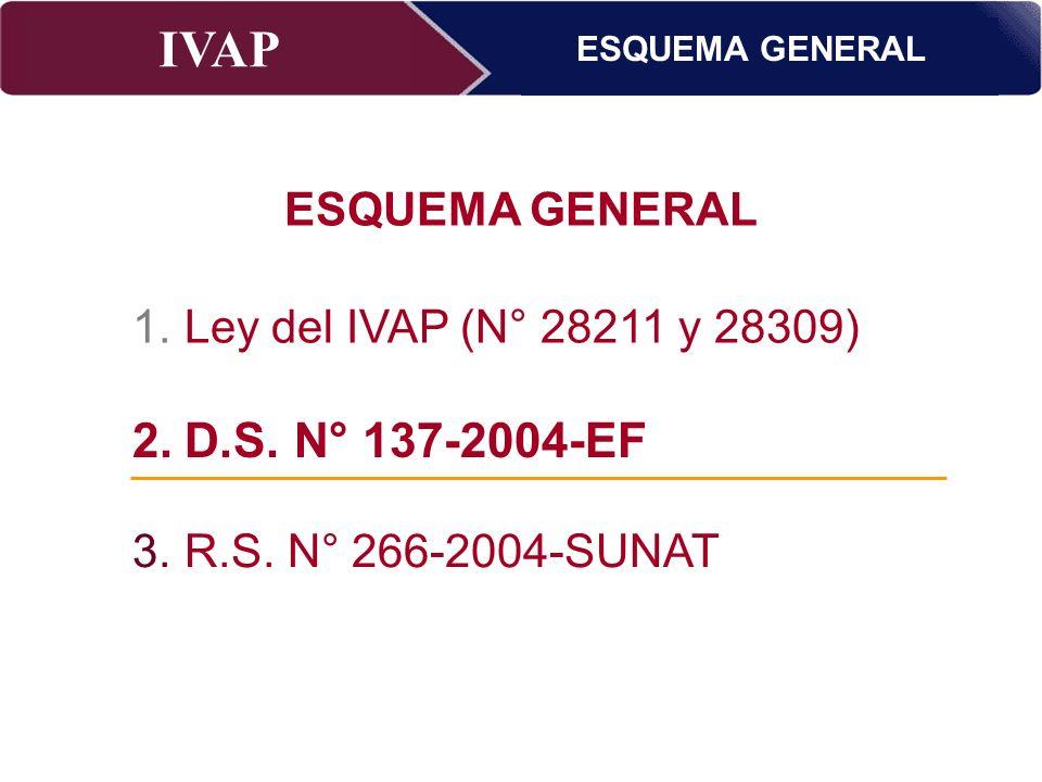 IVAP Superintendencia Nacional de Administración Tributaria – Abril 2009 ESQUEMA GENERAL 2.D.S. N° 137-2004 –EF 3.R.S. N° 266-2004-SUNAT ESQUEMA GENER