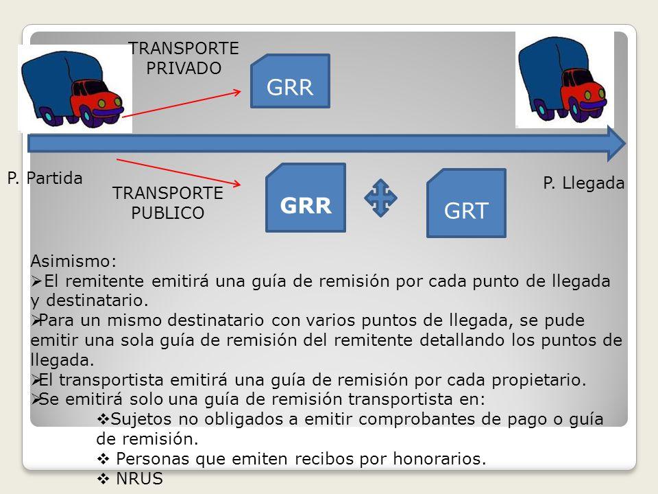 GRR GRT TRANSPORTE PRIVADO TRANSPORTE PUBLICO P. Partida P. Llegada Asimismo: El remitente emitirá una guía de remisión por cada punto de llegada y de