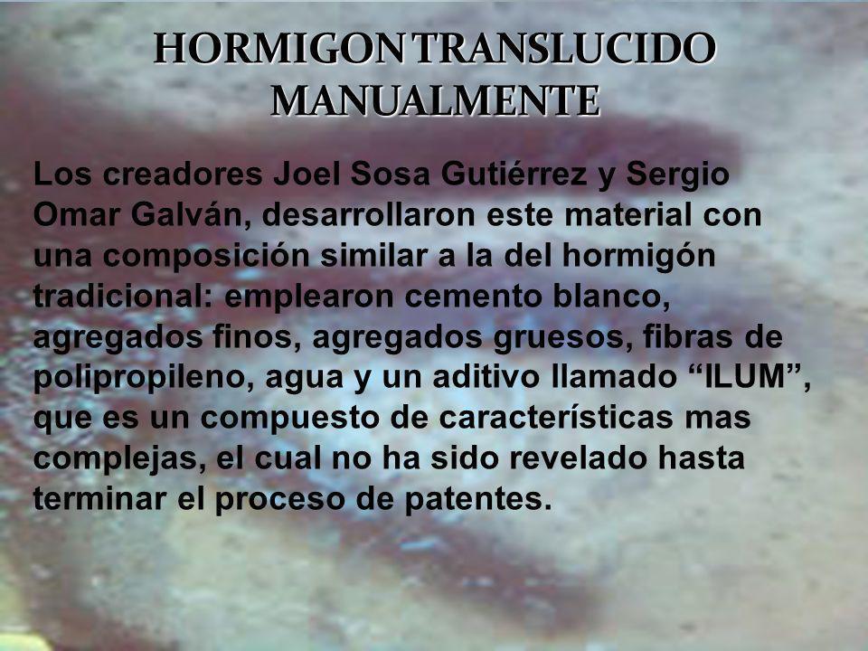 Los creadores Joel Sosa Gutiérrez y Sergio Omar Galván, desarrollaron este material con una composición similar a la del hormigón tradicional: emplear