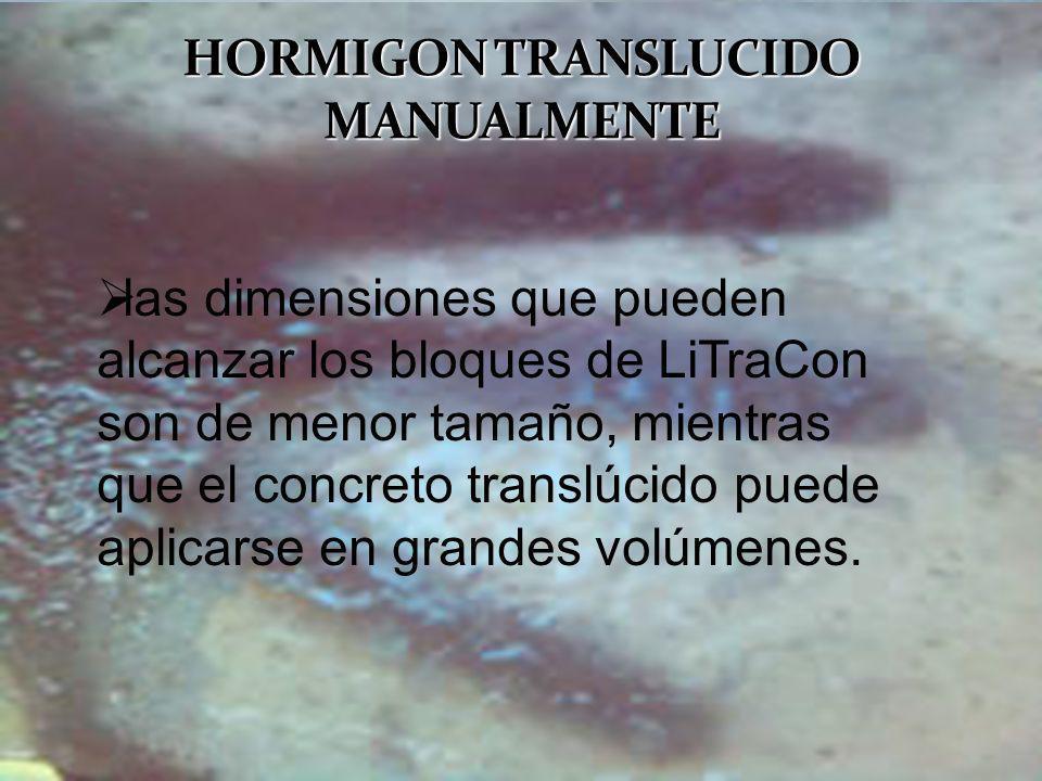 las dimensiones que pueden alcanzar los bloques de LiTraCon son de menor tamaño, mientras que el concreto translúcido puede aplicarse en grandes volúm