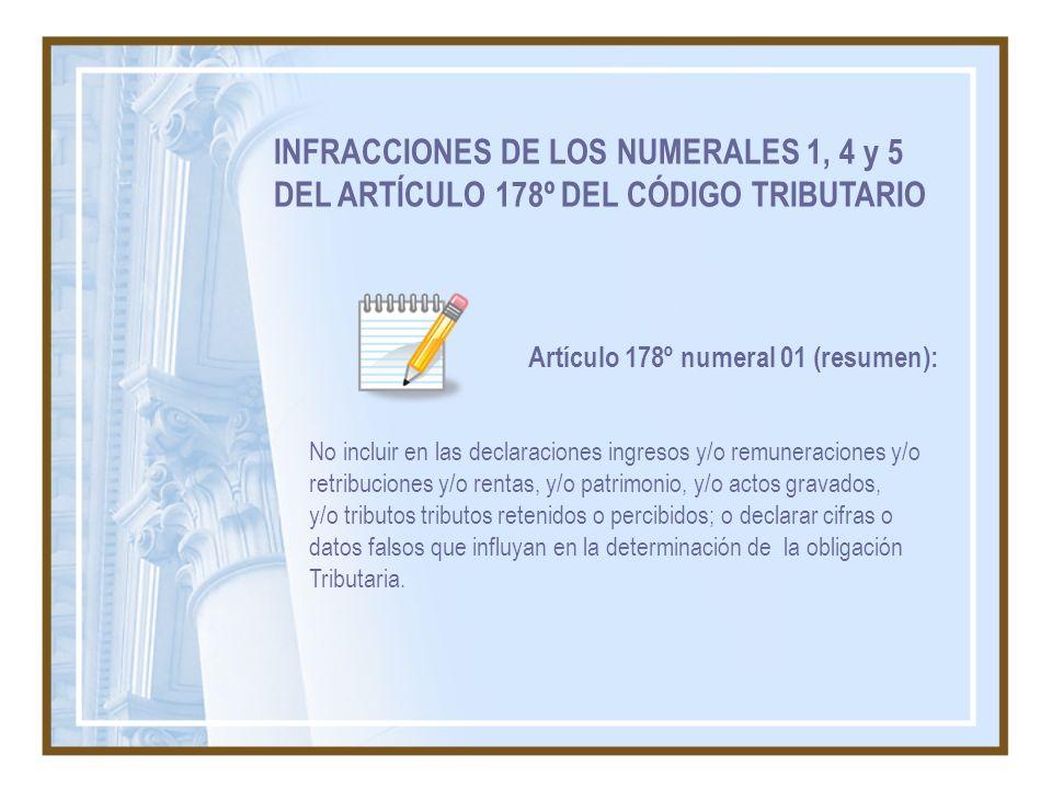 INFRACCIONES DE LOS NUMERALES 1, 4 y 5 DEL ARTÍCULO 178º DEL CÓDIGO TRIBUTARIO No incluir en las declaraciones ingresos y/o remuneraciones y/o retribu