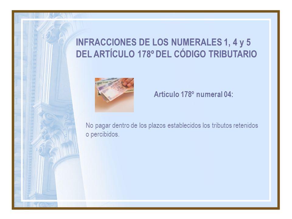 INFRACCIONES DE LOS NUMERALES 1, 4 y 5 DEL ARTÍCULO 178º DEL CÓDIGO TRIBUTARIO No pagar dentro de los plazos establecidos los tributos retenidos o per