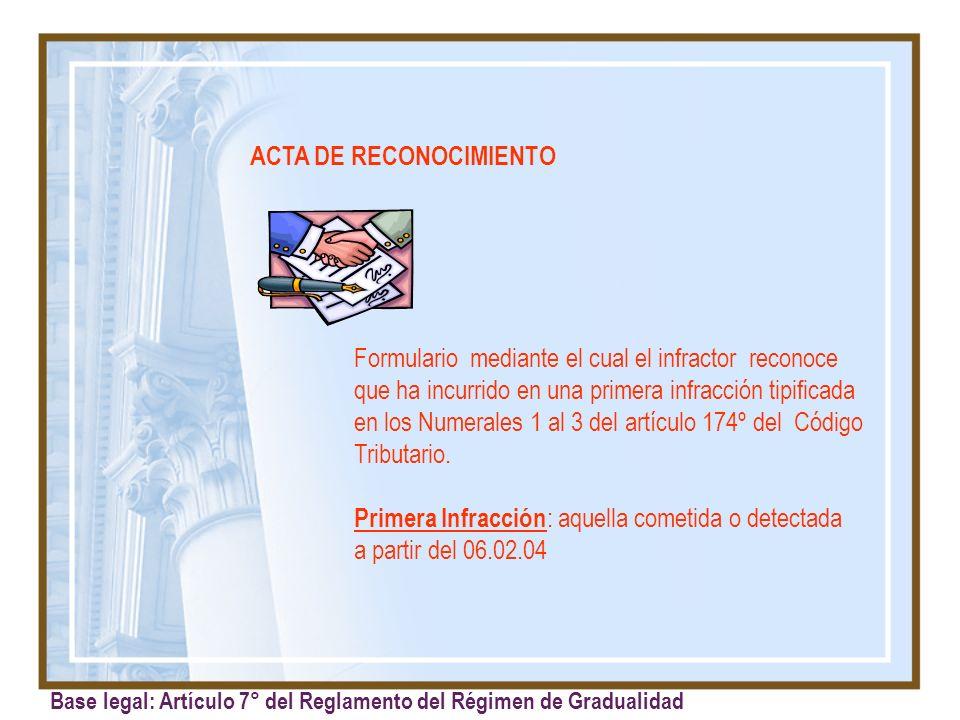 ACTA DE RECONOCIMIENTO Formulario mediante el cual el infractor reconoce que ha incurrido en una primera infracción tipificada en los Numerales 1 al 3